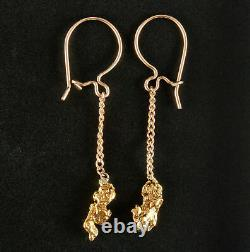 14k & 24k Yellow Gold Natural Nugget Dangle Earrings With French Wire Backs 1.1g