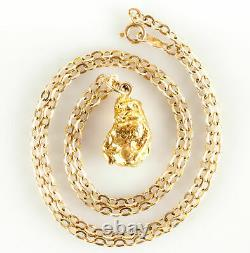 14k & 24k Yellow Gold Natural Nugget Pendant With 16 Chain 6.9g