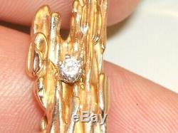 14k Gold Nugget Diamond Pendant Splash No Scrap 9.3 Gr