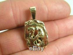 14k Gold Nugget Genuine Diamond Free Form Pendant For Necklace Custom Made