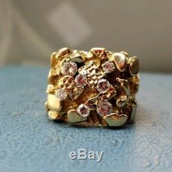 14k Mens Diamond 1TCW Yellow GOLD Pinkie Ring Size 8.75. Heavy duty. Lowest $$