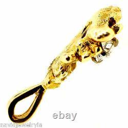 14k Old Miner Diamond Pendant. 42 Carat F Vs2 Natural Gold Nugget