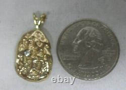 14k Solid Gold Diamond Nugget Pendant For Necklace