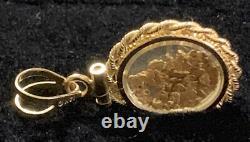 14k Solid Yellow Gold Encased 22k Natural Floating Nugget Rope Bezel Pendant
