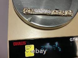 14k Solid Yellow Gold Men's 1ct Diamond ID Nugget Bracelet 9mm 37 grams 8