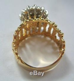 14k Two Tone Gold Nugget Cluster Diamond Ladies Ring