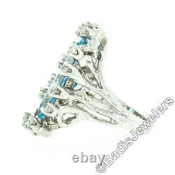 14k White Gold 5.60ctw GIA Long Oval Aquamarine & Diamond Freeform Nugget Ring