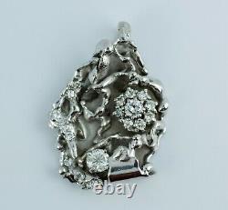 14k White Gold Round White Diamond Nugget Designed Pendant