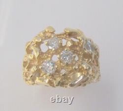 14k Yellow Gold 0.80 Cttw Genuine Diamond Men's Nugget Band Ring Size 11 9.6 G