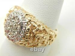 14k Yellow Gold. 50 Tcw Men's Nugget Diamond Ring Size 10- 11.6 Grams