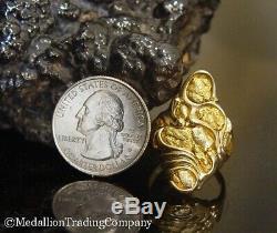 14k Yellow Gold Inlaid Natural Alaskan Solid 24k Nugget Ring Size 8.25 13 grams
