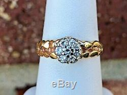 14k Yellow Gold Ladies Diamond Cluster Nugget Ring. 35tcw Size 7.25