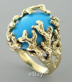 14k Yellow Gold Turquoise Tree Branches Ladies Cocktail Ring Nugget Heavy