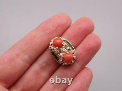 14k Yellow Gold Twin Round Cabochon Coral Nugget Slide Bracelet Charm