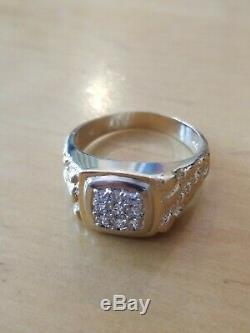 14k solid gold diamond mens nugget cluster ring 7.8g gents estate very nice ring