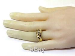 14k yellow gold. 07ct SI1 H diamond illusion head nugget mens ring 6.3g gents
