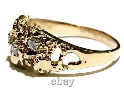 14k yellow gold. 24ct SI3 I diamond cluster nugget mens ring 8.2g gents