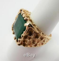14kt Yellow Gold Men's Natural Emerald Nugget Ring, Square Emerald Cut 8.5 #F38