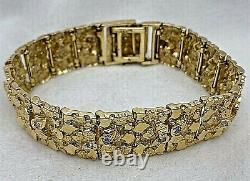 14kt Yellow Gold and Diamond 1/2 x 8 3/4 Nugget Bracelet