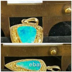 18k Gold Opal Gold Nugget Pendant- Designer Large Pendant- Estate Jewelry 9.3 gm