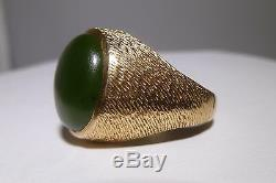 1970s Men's 14K Dome Gold Jade Ring Nugget Ring Genuine Green Jade Estate