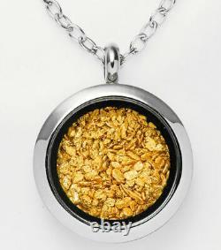 2.9 Gram Alaska Natural Gold Nuggets With 20mm Locket Pendant Necklace 20 50cm