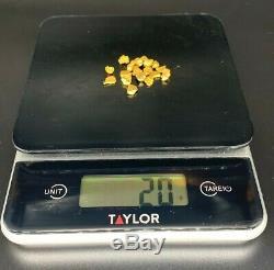 20 Grams Alaskan-Yukon BC Natural Gold Nuggets #4 Mesh (NO RESERVE)