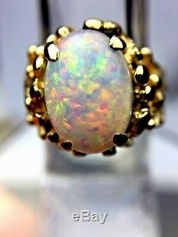 3.50 ct Natural Oval Opal 14K Yellow Gold Ornate Nugget Cocktail Ring NICE