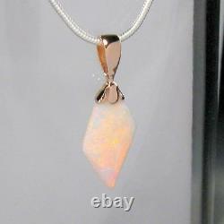 3.7ct 14k Pink Gold Genuine Natural Australian Solid Opal Pendant Gem Gift #851