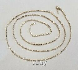 30 Natural 14K Yellow Gold 1 mm Rope Chain Necklace 5.90 Grams Lobster Nugget $