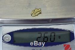 #340 Alaskan-Yukon BC Natural Gold Nugget 2.60 Grams Genuine