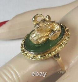 3D Figural Sculpture BIGHORN SHEEP Ram ARIES 10K Gold NUGGET Jade Alaska Ring