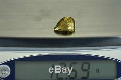 #408 Alaskan BC Natural Gold Nugget 12.69 Grams Genuine