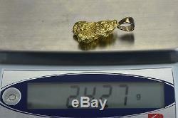 #560 Alaskan-Yukon BC Natural Gold Nugget Pendant 24.27 Grams Authentic
