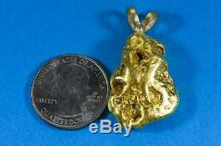 #596 Alaskan-Yukon BC Natural Gold Nugget Pendant 31.60 Grams Authentic