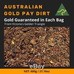 600g / 21.16oz AUSTRALIAN NATURAL GOLD PAYDIRT Guaranteed Gold Pay Dirt