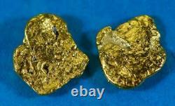 #615 Alaskan-Yukon BC Natural Gold Nugget Earrings 2.37 Grams
