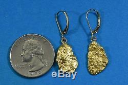 #640 Alaskan-Yukon BC Natural Gold Nugget Earrings 6.04 Grams Dangles