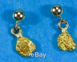 #695 Alaskan-Yukon BC Natural Gold Nugget Earrings 1.11 Grams