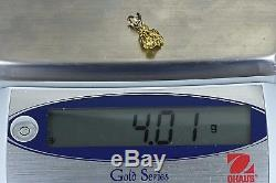 #714 Alaskan-Yukon BC Natural Gold Nugget Pendant 4.01 Grams Authentic