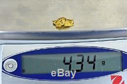 #977 Australian Natural Gold Nugget 4.34 Grams Genuine