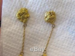 AUTHENTIC NATURAL 22K / 24K GOLD NUGGET Dangle Pierced Earrings 9.2 GRAMS