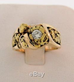 Alaska Alaskan 22K Natural GOLD NUGGETS Appr 0.27ct Diamond 14K Gold Ring Sz 5.5