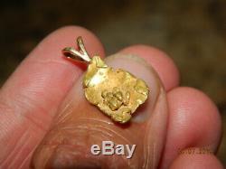 Alaska Gold Nugget Pendant Solid Natural Alaska Gold Nugget w Gold Crystals 1.4g