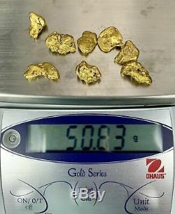 Alaskan BC Natural Gold Nugget 50 Gram lot of 5-10 gram Nuggets Genuine