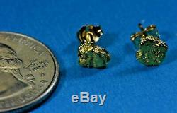 Alaskan-Yukon BC Natural Gold Nugget Stud Earrings 1.30 to 1.40 Grams
