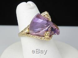 Amethyst Ring 14K Yellow Gold Nugget Fantasy Cut Fancy Purple Jewelry Size 6.5
