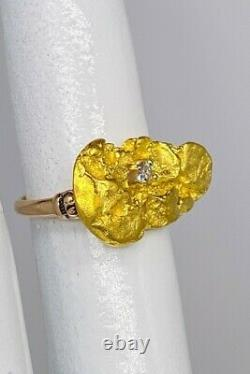 Antique 1850s Genuine 24k MINED NUGGET Old Euro Diamond 14k Yellow Gold Ring 6g