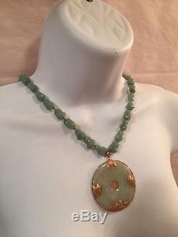 Antique JADITE natural nugget necklace CELEDON GREEN with 14k gold c1920 JAPAN