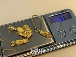 Australia Natural Gold Nugget / Nuggets Pendant Earrings Diamond 5.68 Grams